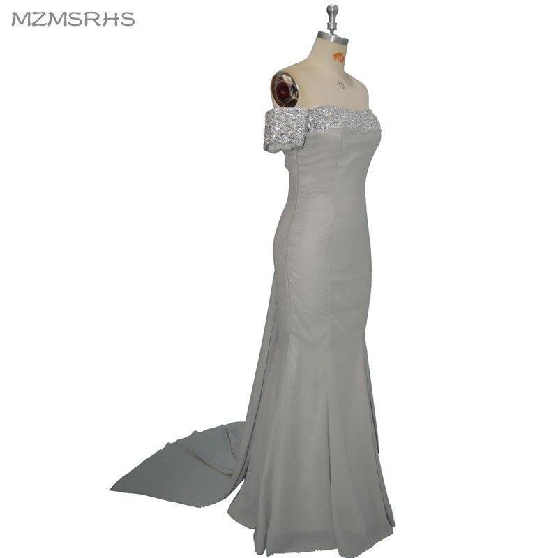 b6a4eef497bd Vestido de baile MZMSRHS Elegante Aperto Indietro Abito Da Sera di Lusso  Bordare Argento Sirena Prom Dresses Lungo Sexy Prom Dress in Vestido de  baile ...