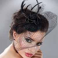 Mini-Hat-Wedding-Bridal-Birdcage-Veil-With-Black-Black-Feather-Blusher-Fascinator-Black-Tulle-Hair-Flower.jpg_200x200