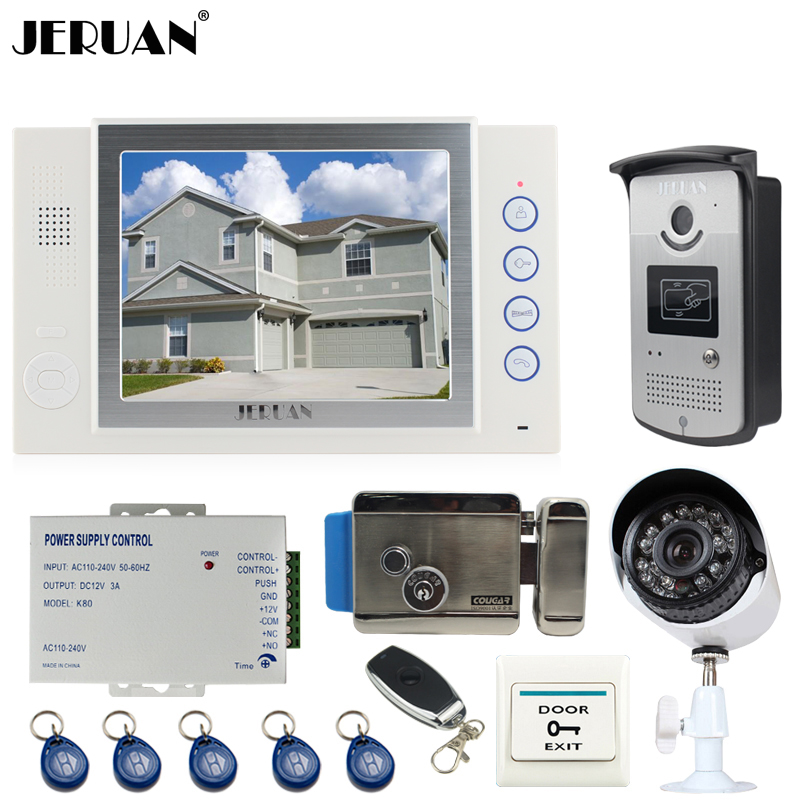 JERUAN white 8`` LCD Video Door Phone Record intercom System kit RFID Access IR Camera + 700TVL Analog Camera 8GB SD Card+lock jeruan home 7 video door phone intercom system kit 1 white monitor metal 700tvl ir pinhole camera rfid access control in stock