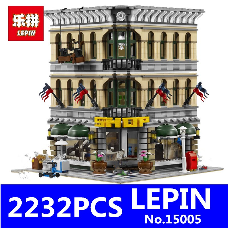 LEPIN 15005 2182pcs City Creator Grand Emporium Model Action Figure Street Building Blocks Bricks Toys Gift Compatible 10211 decool 3117 city creator 3 in 1 vacation getaways model building blocks enlighten diy figure toys for children compatible legoe