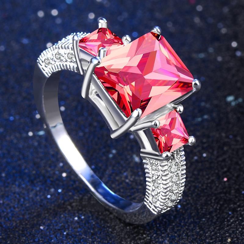 2 carat AAA zircon 925 sterling silver jewelry wedding engagement Multicolor rings for women vintage anel crystal bague leaves