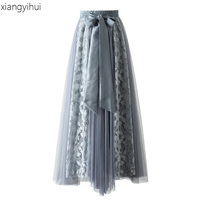 Fashion High Waist Lace Stitching Mesh Long Maxi Skirt Women Ladies Summer Korean Style Elegant School Skirt jupe longue 2018
