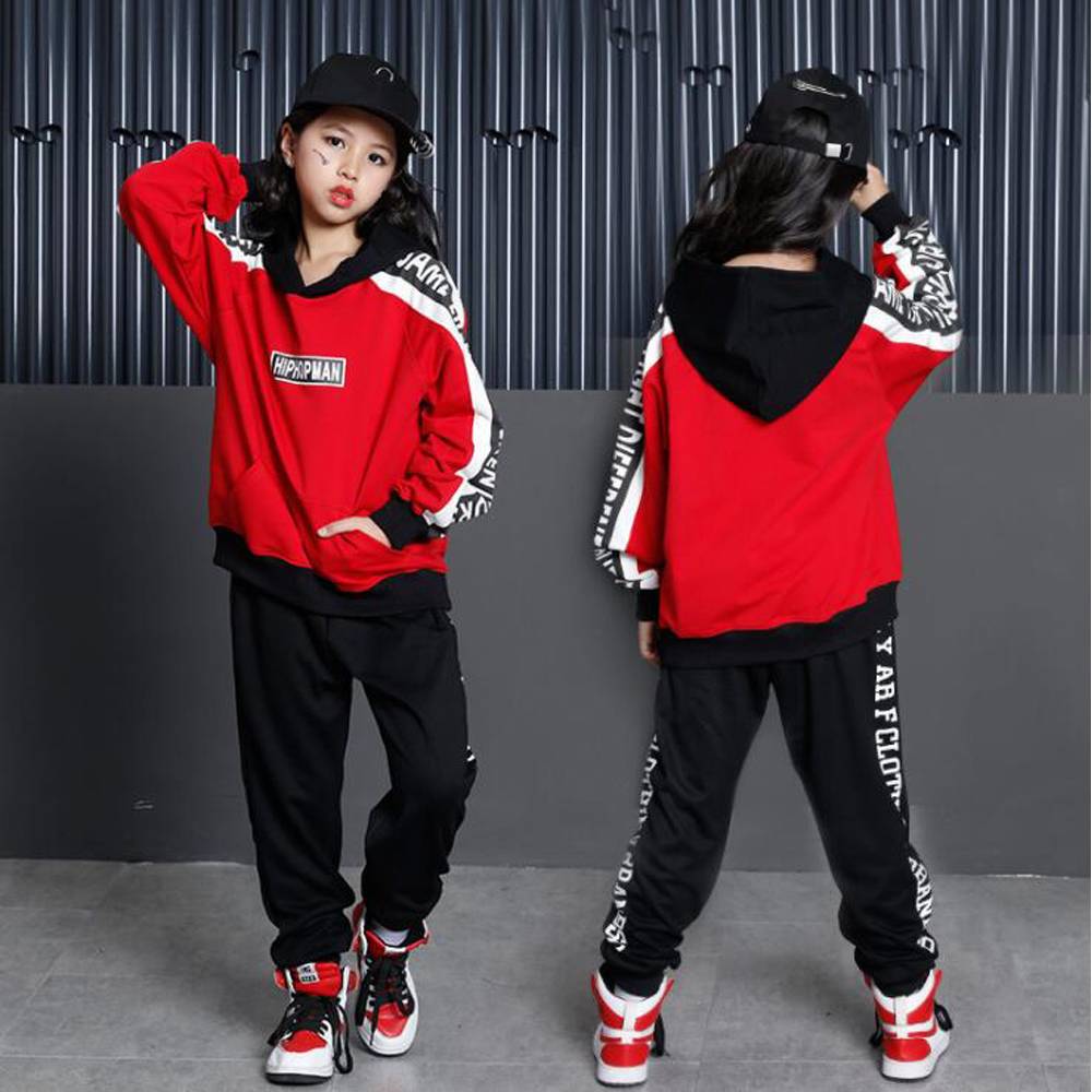 Girls Boys Loose Ballroom Jazz Hip Hop Dance Competition Costume Hoodie Shirt Tops Pants For Kid Modern Party Stage Wear Outifts