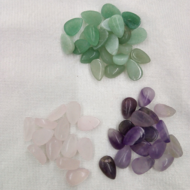 Beads No Dye 8*12mm Genuine Amethysts Green Aventurine Pink Quartz Water Drop Ring Face For Diy Necklace Ring Bracelet Jewelry Bag Jade White Jewelry & Accessories