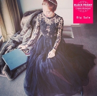 2019 Black voile lace long dress hollow out hook flower embroidery women eyelashes lace perspective full sleeve dress F3642