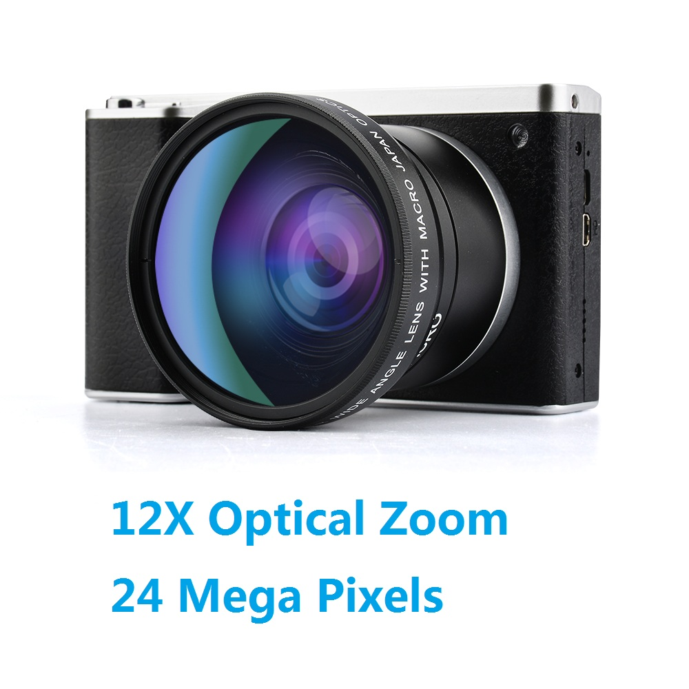 "Lightdow 4.0"" IPS Touch Screen 24MP 12X Optical Zoom F3.2-6.5 Digital Camera Video Recorder with 52mm Wide Angle +Macro Lens"