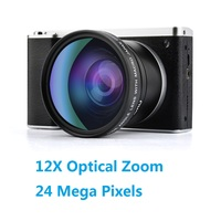 Lightdow 4.0 IPS Touch Screen 24MP 12X Optical Zoom F3.2 6.5 Digital Camera Video Recorder with 52mm Wide Angle +Macro Lens