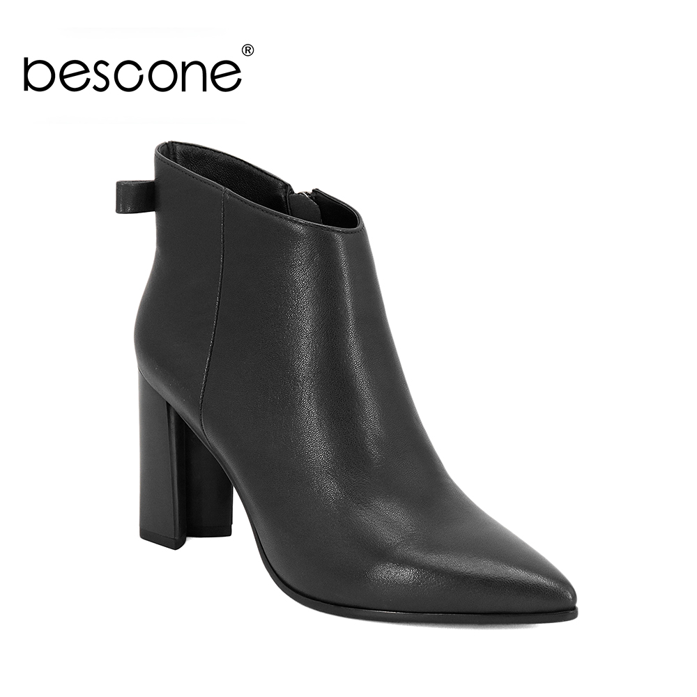 BESCONE Elegant Pointed Toe Ankle Boots High Quality Square Heels Handmade Shoes Zipper Genuine Leather Autumn Lady Boots BA27BESCONE Elegant Pointed Toe Ankle Boots High Quality Square Heels Handmade Shoes Zipper Genuine Leather Autumn Lady Boots BA27