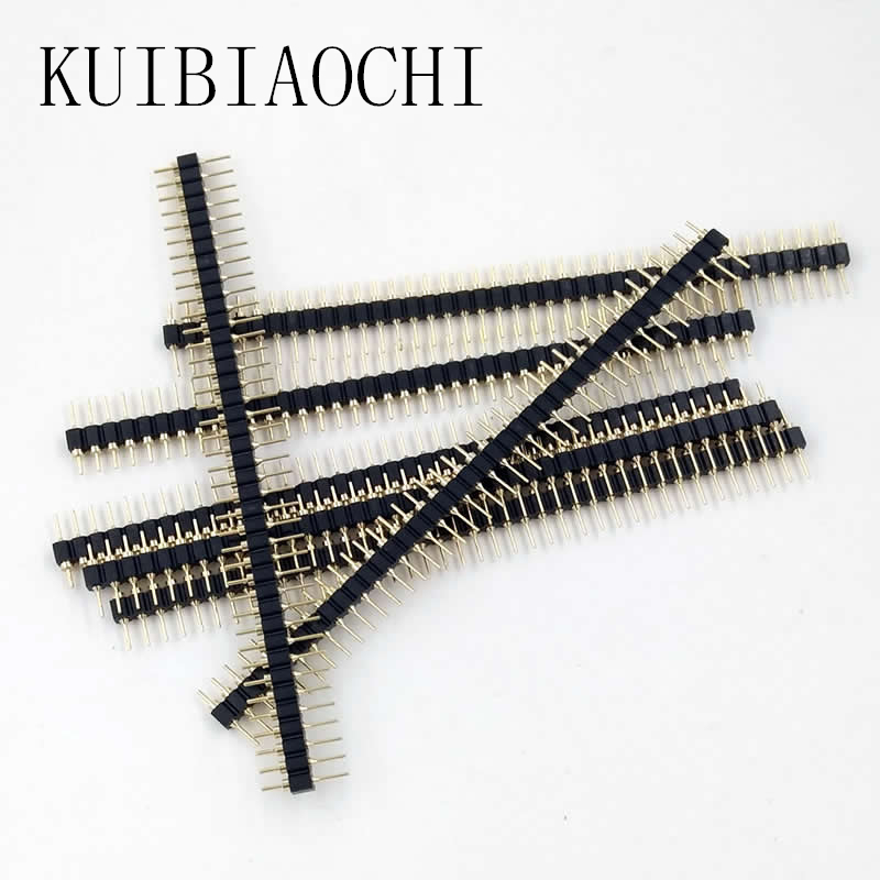10pcs/LOT Gold Plated 2.54mm Male&Female 40 Pin Single Row Straight Round Pin Header Strip free shipping gold plated copper 20pcs 40pins 2 54mm single row straight male pin header strip for pcb 20pcs lot