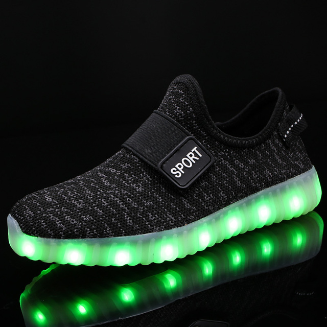 Breathable Children Shoes With USB Charger LED Fashion Boy's & Girl's Sneakers Weaving Cloth Shoes For Kids Size 25-37