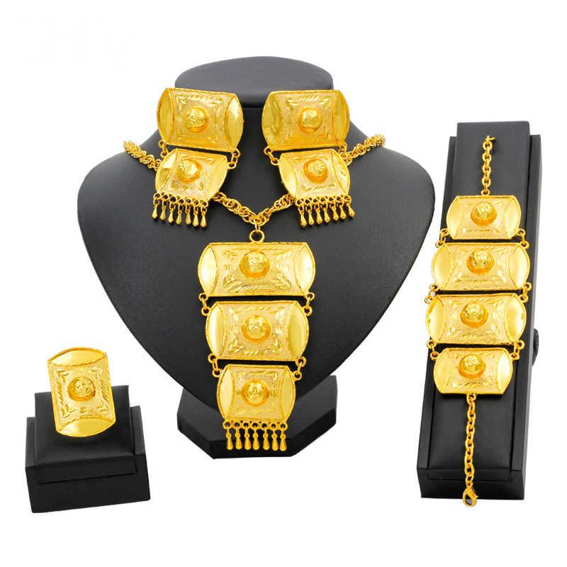 תכשיטים אפריקאים סטי זהב דובאי נשים זהב תכשיטי סטי שרשרת צמיד עגילי יוקרה האתיופית תכשיטים לחתונה