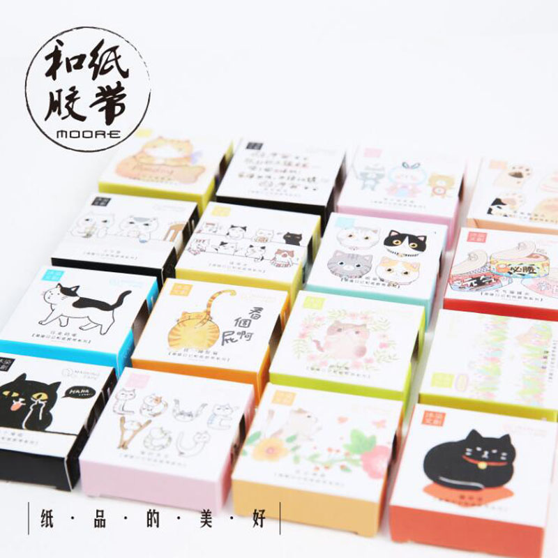 A39 Cute Kawaii Adorable Cat Adhesive Paper Washi Tape Masking Tape DIY Scrapbooking Stick Label kawaii manga adorable