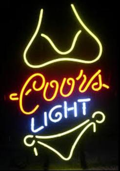 Coors Light Yellow Bikini Glass Neon Light Sign