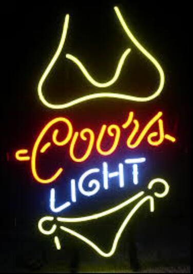 Coors Light Yellow Bikini Glass Neon Light Sign