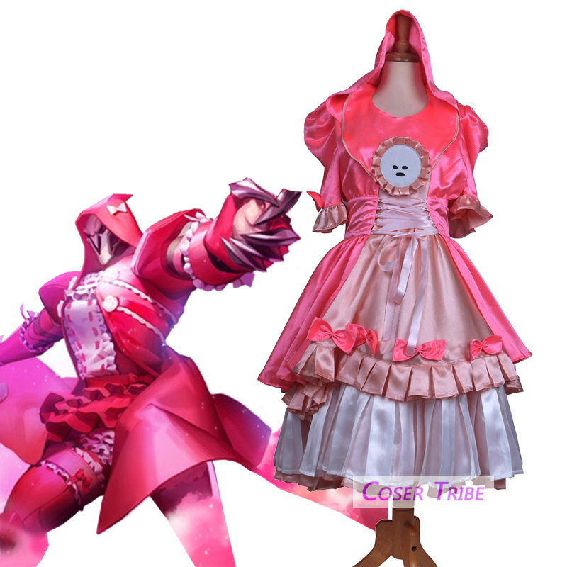 [STOCK] 2018 Game OW Reaper Gabriel Reyes Transsexual Lolita Dress Cosplay Costume Full Set For Halloween Free Shipping New.