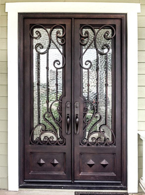 Custom 72 x96 puertas de hierro forjado puerta de for Puertas de hierro forjado