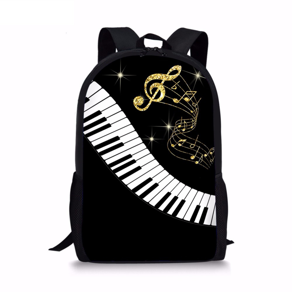 Customized Fashion 3D Piano Keyboard/Music Note Printing Woman Men Backpacks Casual Laptop Rucksacks Travel Students Back Pack
