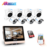 ARSECUT 2.0MP POE 12Inch LCD Screen 1080P NVR Kit CCTV System Outdoor IP NightVision Camera POE Security Camera Surveillance kit