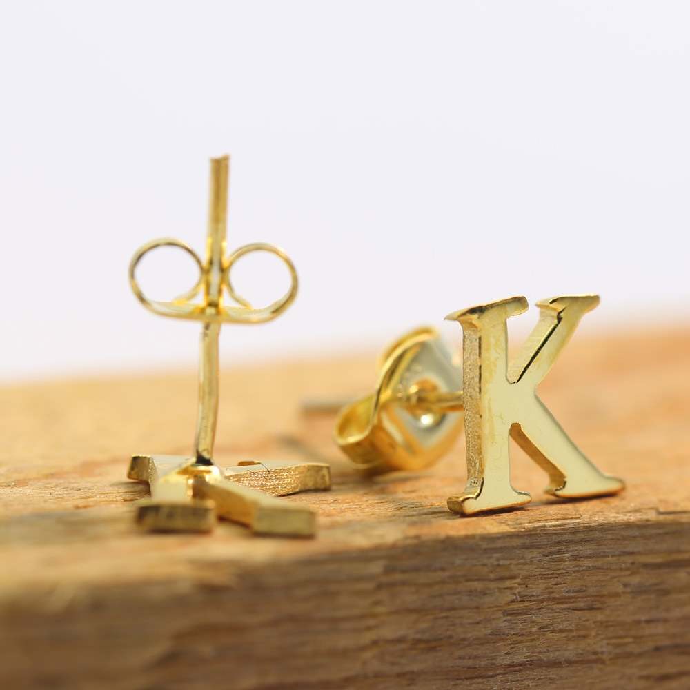 Wholesale Gold 1 Letter Earrings, Custom Single Initial Stud Earring,  Personalized Christmas Gift(