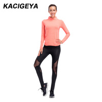Compression Suit Women Yoga Jacket Fitness High Neck Tight Long Sleeve Shirts +Leggings Women Running Gym Comfortable Suits 2018