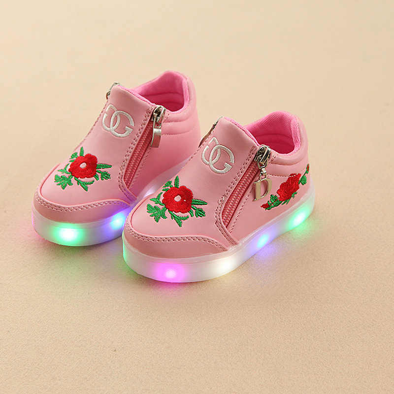 KRIATIV เด็กรองเท้าดอกไม้สำหรับสาวผู้หญิงรองเท้าเด็กเรืองแสง Led สีชมพูดอกไม้สำหรับทารกสาว