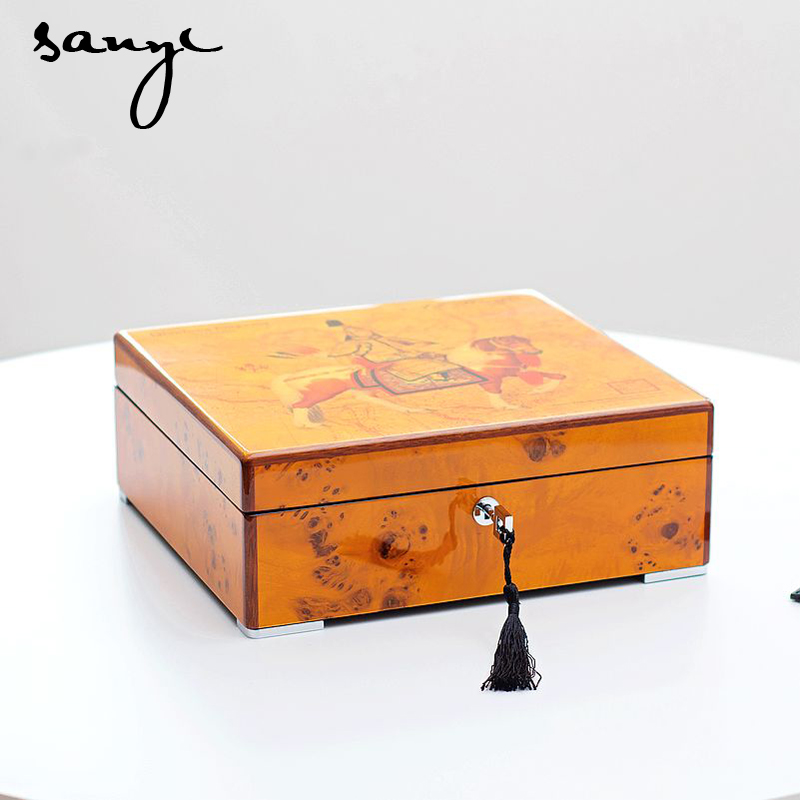 Export Art Master Piano Paint Knar Wood Watch Box Eight Pack Mechanical Table Display of Cassette Lock art of war