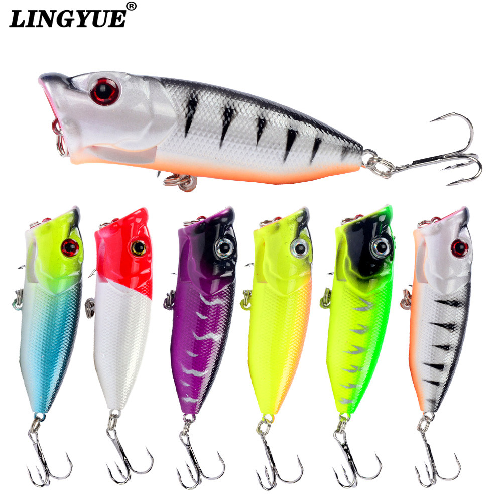 Hot Sale 1pcs Fishing Lure High Quality Topwater Popper bait Bass Crankbait Wobblers Fishing Tackle 6.5cm/12g 6 Colors Available fishing topwater floating popper poper lure 6 high carbon steel hooks crank baits tackle tool 6 5cm 13g fishing tackle zb203
