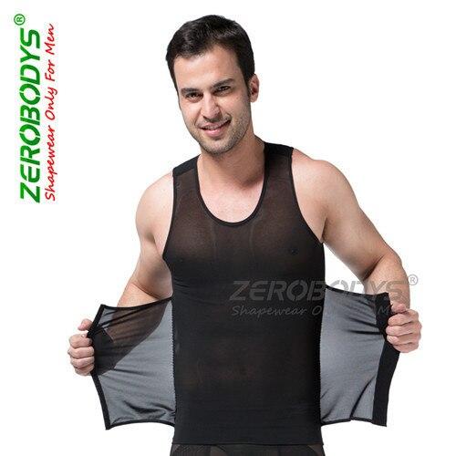 Poderosos ZEROBODYS Mens Shaper Do Corpo Alta Powernet Vest S, M, L, XL, XXL Preto Branco Corpo Homens Da Cintura Cincher cintas Forma Wear B358