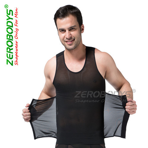 ZEROBODYS Powerful Mens Body Shaper High Powernet Vest S,M,L,XL,XXL Black White Body Girdles Men Waist Cincher Shape Wear B358