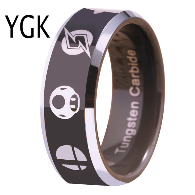 YGK Hot Sales 8MM Tungsten Wedding Band Ring For Women and Men Super Smash Bros Zelda/Metroid/Pokemon/Mario bros/Star Fox Design