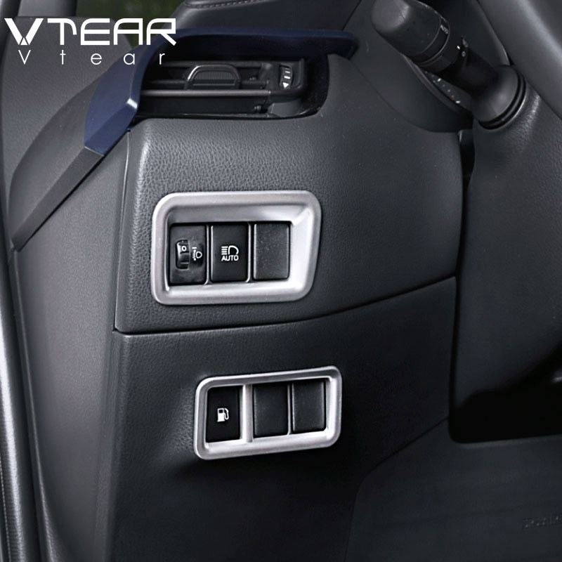 Vtear For Toyota C-HR CHR Accessories Fog Light Headlight Switch Panel Frame Cover Trim ABS Chrome Interior Mouldings 2017-2019