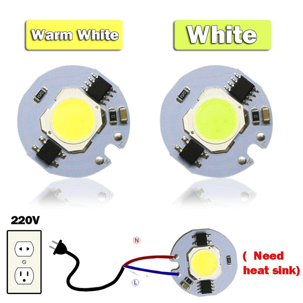 1pcs LED COB Bulb No Need Driver Driverless 5W Input High Power AC 220V Chip Cool / Warm White For DIY Floodlight Spotlight