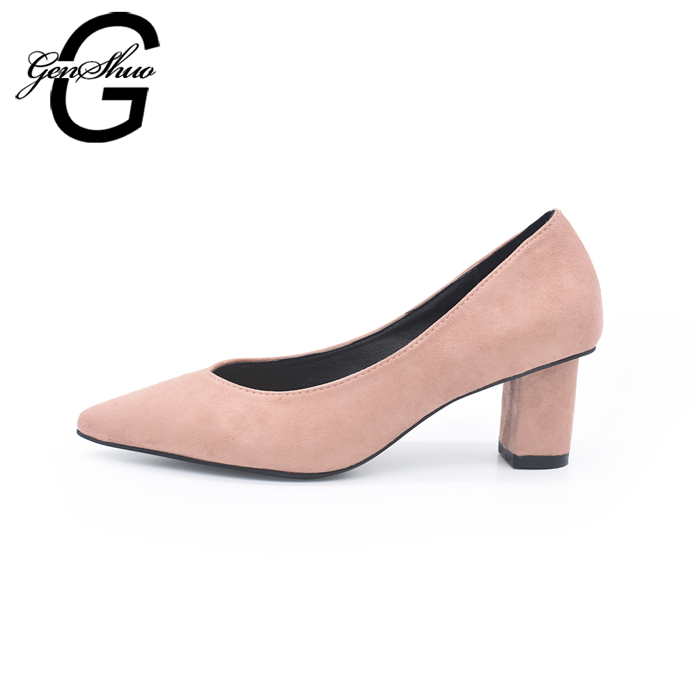 цена на GENSHUO Brand Women Pumps Medium Heel Shoes 7CM Thick Heels Pink Shoes Pointed Toe Fashion Wedding Bridal Shoes Ladies Heels