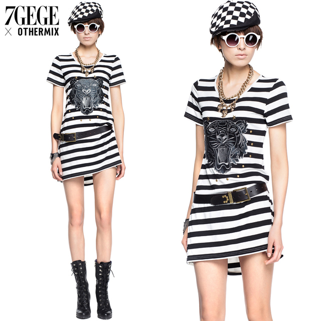 0c0d7f426ce 2013 summer black and white stripe embroidery short-sleeve dress 3mb2120j