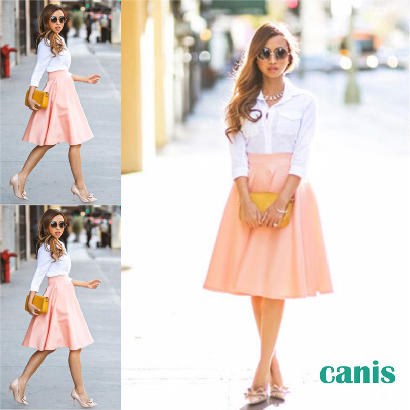 Women Skirts Vintage High Waist Ladies Stretch MIdi Soft Flared Pleated Swing Pink Solid Color Skirt Summer 2019
