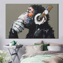 Large 1 Pcs Animal Monkey Canvas Printed Painting Modern Funny Thinking with Headphone Wall Art for Living Room Decor