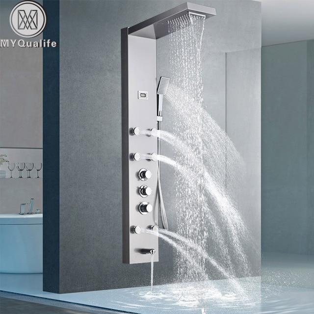 Modern Stainless Steel Rain Waterfall Shower Panel Wall