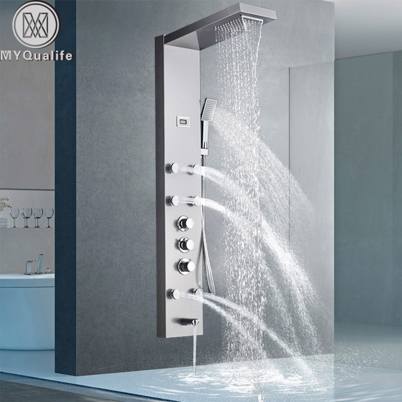 Rainfall Shower With Six Adjustable Jets Valore Expect More Vs 2000 Shower Panel Shower Panels