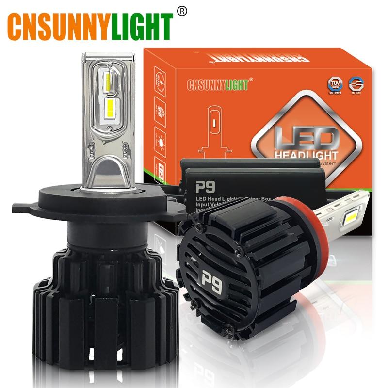 CNSUNNYLIGHT Faros LED para automóvil súper brillantes H7 H11 / H8 9005 / HB3 9006 / HB4 9012 D1 / D2 / D3 / D4 H4 H13 45W 6800Lm / Bombilla 6000K Blanco puro
