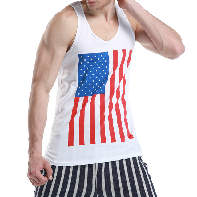 Nova verão 2015 Sexy dos homens Slim colete de algodão tanque de bandeira americana Top Mens regatas camisa camisa sem mangas camisola