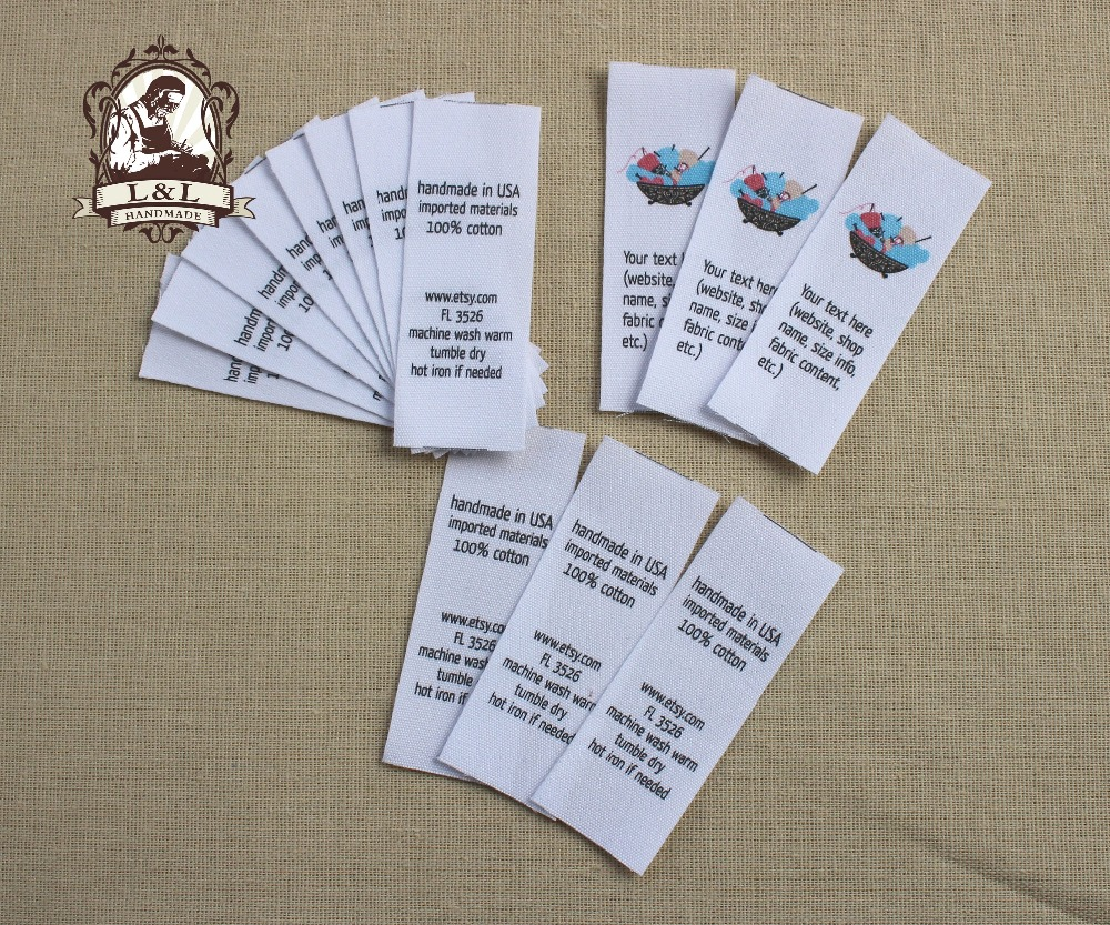 Custom folded tags sewing labels clothing