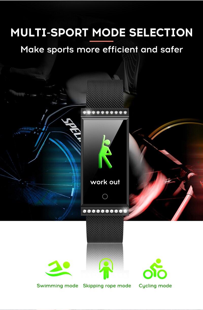MAFAM Smart Bracelet Women Watch Waterproof Fitness Tracker Heart Rate Blood Pressure Sports Smart Band Notification Reminder (10)