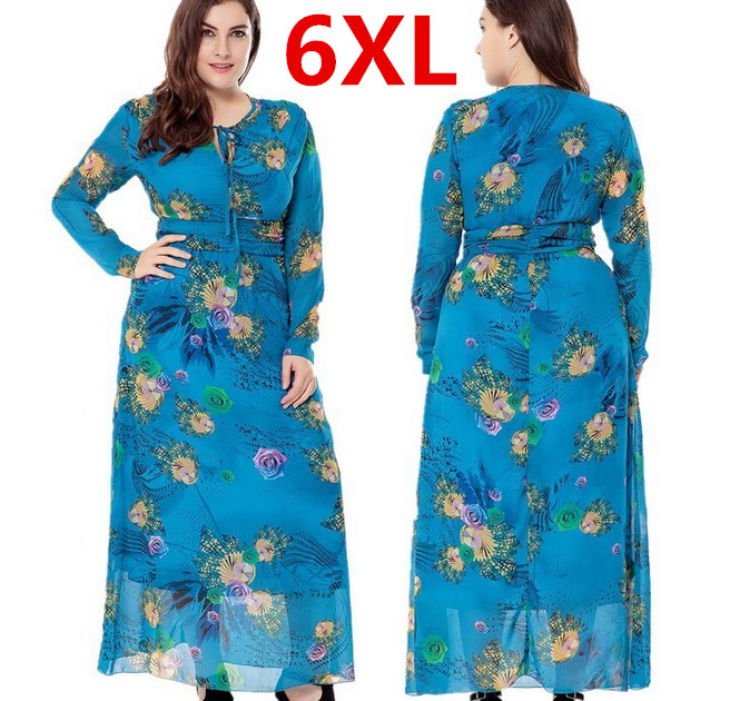 Plus Size 6XL Long Maxi Women Autumn Dresses Blue Flower Bohemian Dress font b Robe b