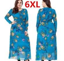Plus la Taille 6XL Longue Maxi Femmes Automne Robes Bleu Fleur bohème Robe Robe Femme En Mousseline de Soie Robes Verano Femmes Grande Taille 6XL