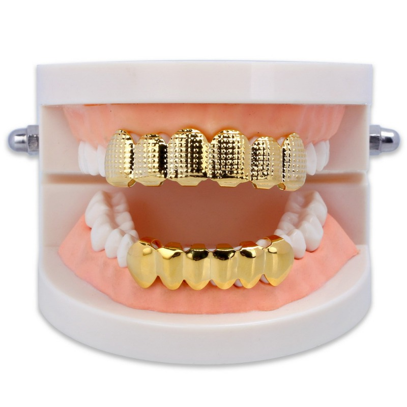 New Denture Care Gold Silver Plated Teeth Lattice Shape Teeth Golden Plating Texture Bump Top & Bottom Grill Set Teeth Grillz