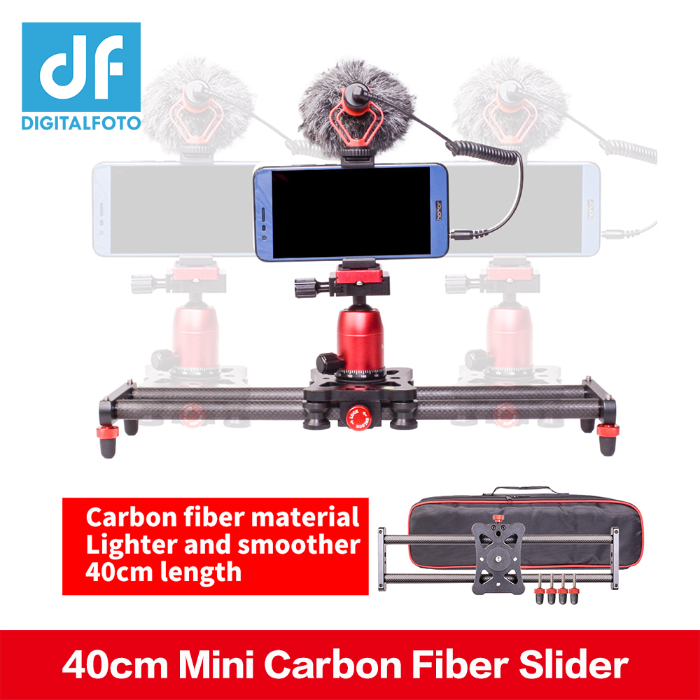 DF DIGITALFOTO 40cm Mini Carbon Fiber Slider Track Dolly Slider Rail System for GoPro 6 XiaoYi Hero Action Camera DSLR iphone X цена и фото
