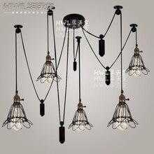 Cocina Vintage polea luminaria lustre luz de sala rueda industrial Retro Bar restaurante luz de la sala de estar