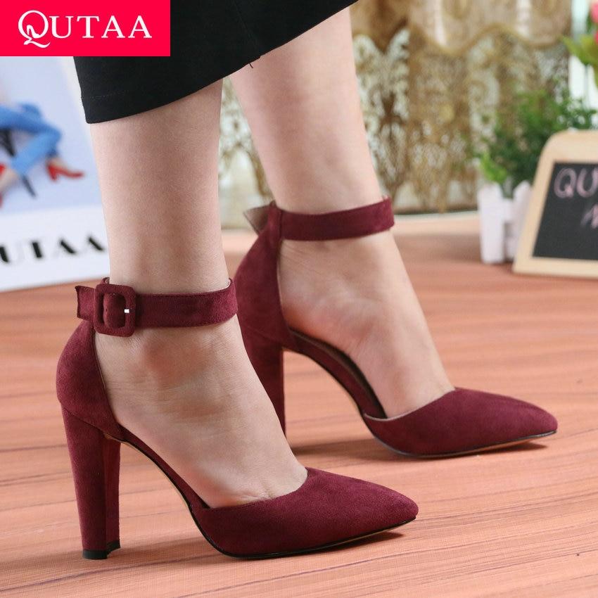 QUTAA 2019 mujeres bombas zapatos de mujer de moda fiesta boda Super cuadrada tacón alto puntiagudo dedo del pie vino rojo señoras bombas tamaño 34-43