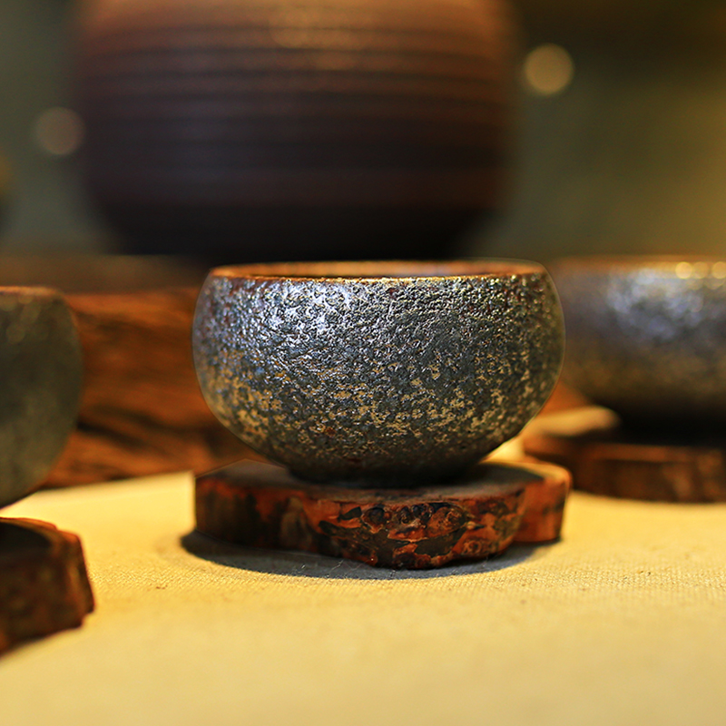 Vintage Pottery Rust Glaze Teacups 4