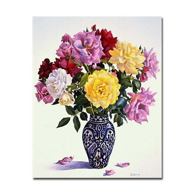 Diy Por Números Pintura Al óleo Digital Marco Kits Colores Flores